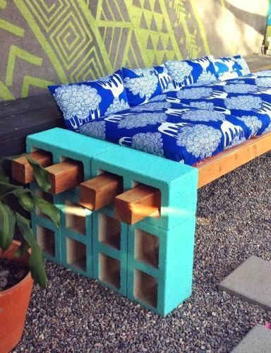 DIY Outdoor Cinder Block Bench