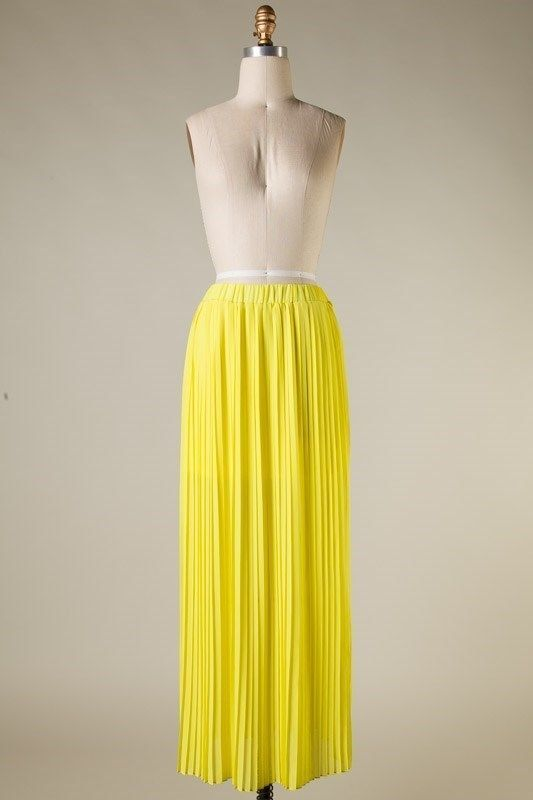 Yellow pleated maxi skirt maxiskirt pleatedmaxiskirt