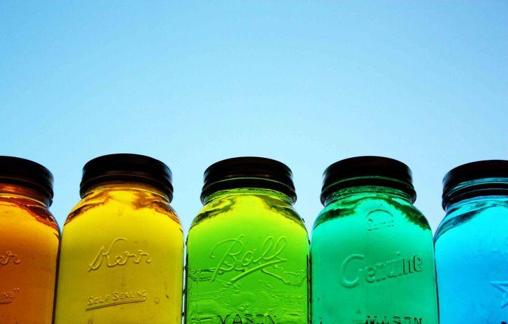mason jars + water + food coloring = beautiful on the window sill