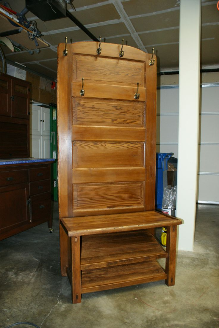 Hall Bench And Coat Rack Made From An Old Door Interior Decorating Ideas Pinterest