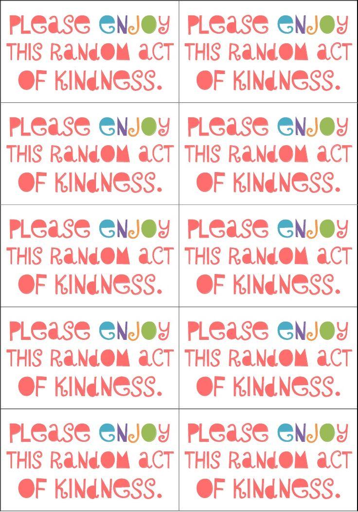 Random act of kindness cards | Great ideas. | Pinterest