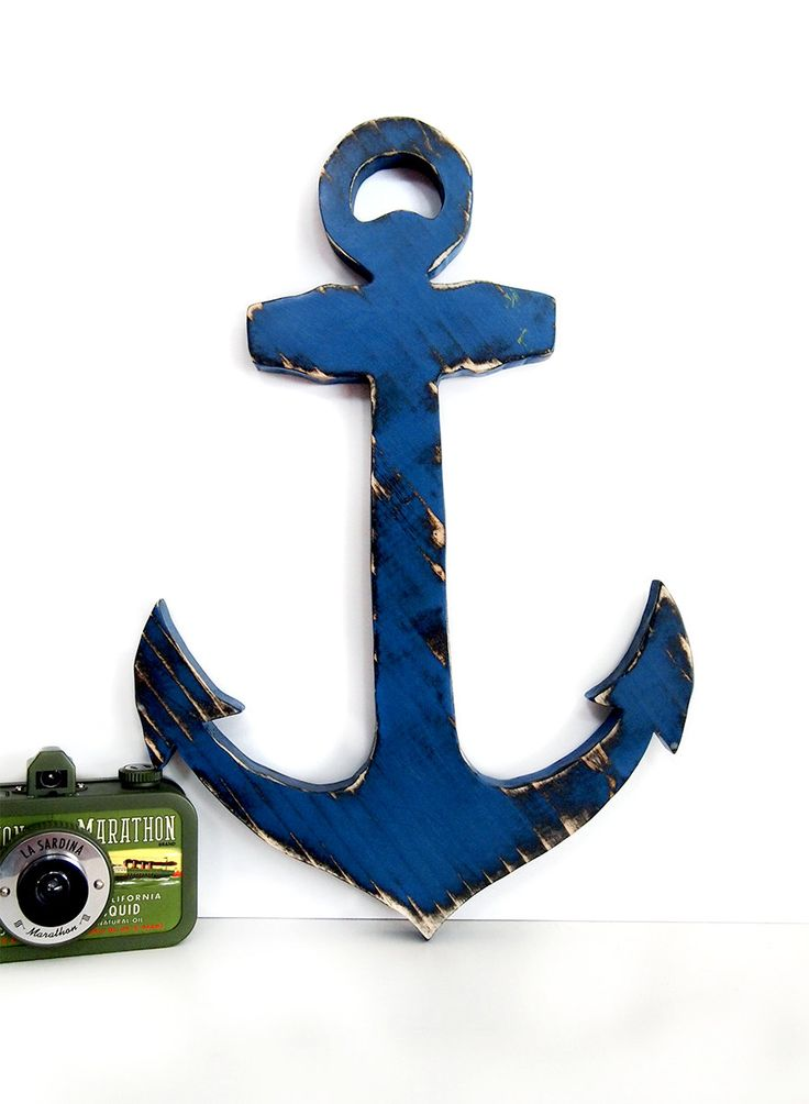 Anchor 2 in navy pine wood sign wall decor rustic for Anchor decor