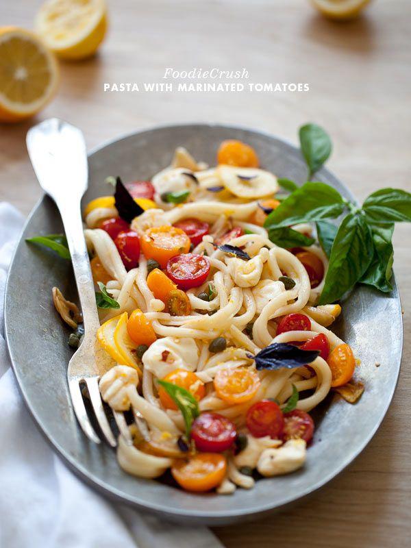 Marinated Tomato Pasta with Garlic and Mozzarella from FoodieCrush