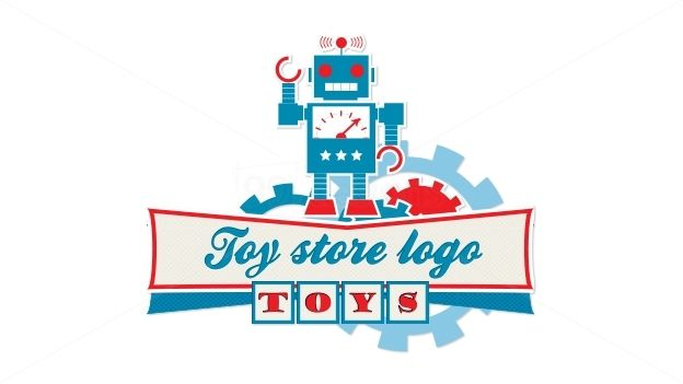 Toy Store Logo : Vintage robot toy store logo designed by mzlaki red