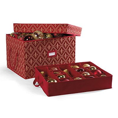 Red fleur de lis ornament storage boxes christmas decor for Xmas decoration storage boxes