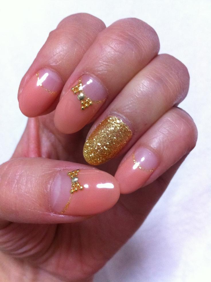 Orange gold nail art : Nail art orange gold