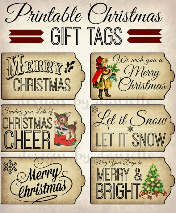 Printable Christmas Tags (instant download)