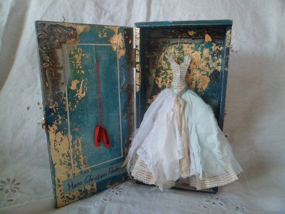 COLLAGE MINIATURE DRESSES | Art Assemblage The Red Shoes by MesssieJessie on Etsy
