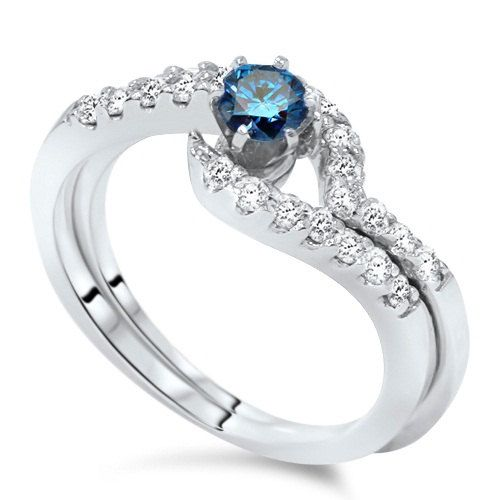 3 4CT Blue & White Diamond Engagement Wedding Ring Set 14K White Gold