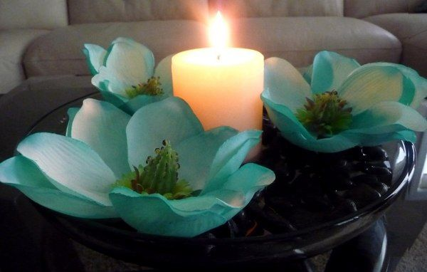 Candle and flowers turquoise wedding pinterest