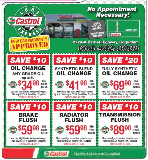 Havoline oil change coupons
