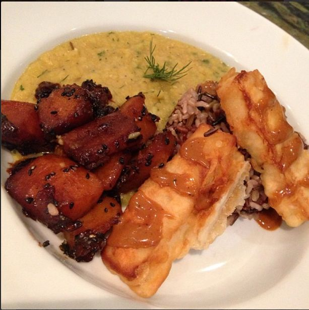 ... sesame seeds tempura tofu with spicy peanut and dill and garlic Dal. #