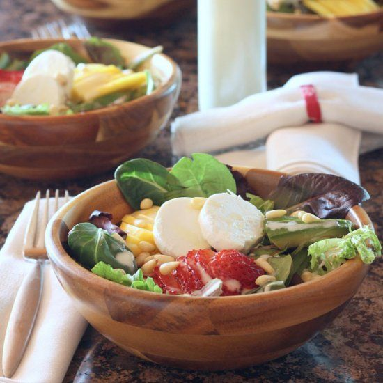 ... Salad with Pine Nuts & Goat Cheese topped with a Honey Lemon Lime