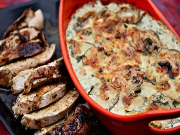 ... : Ancho-Rubbed Turkey Breast With Cilantro-Habanero Potato Gratin