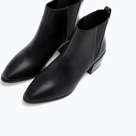 MINIMAL + CLASSIC: ZARA - SHOES & BAGS - BLOCK HEEL ELASTIC LEATHER BOOTIE