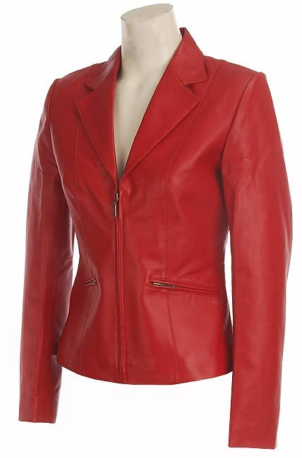 ladies red leather jacket - photo #24