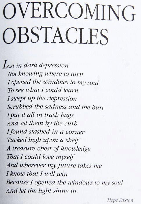 how inspiration leads to overcoming obstacles Motivational story about overcoming obstacles december 29, 2010 and he is able to overcoming his obstacles (of having one fully operational leg) having the right outlook is key to determining where obstacles will lead you.