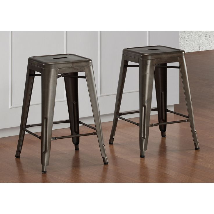 Tabouret 24 inch vintage and gunmetal counter stool set of 2 - Tabouret bar vintage ...