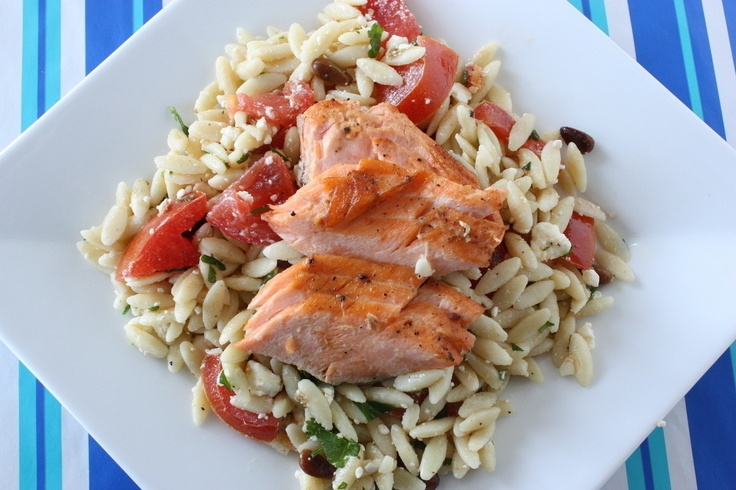 Broiled Salmon with Orzo Salad - Judicial Peach (Dinner Lunch Wheat ...