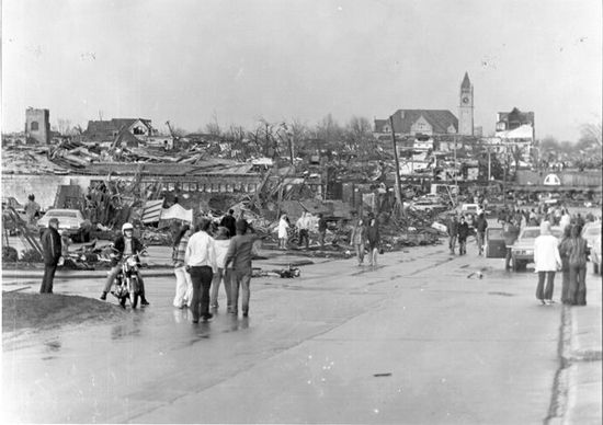 A scene of extensive destruction in Xenia.