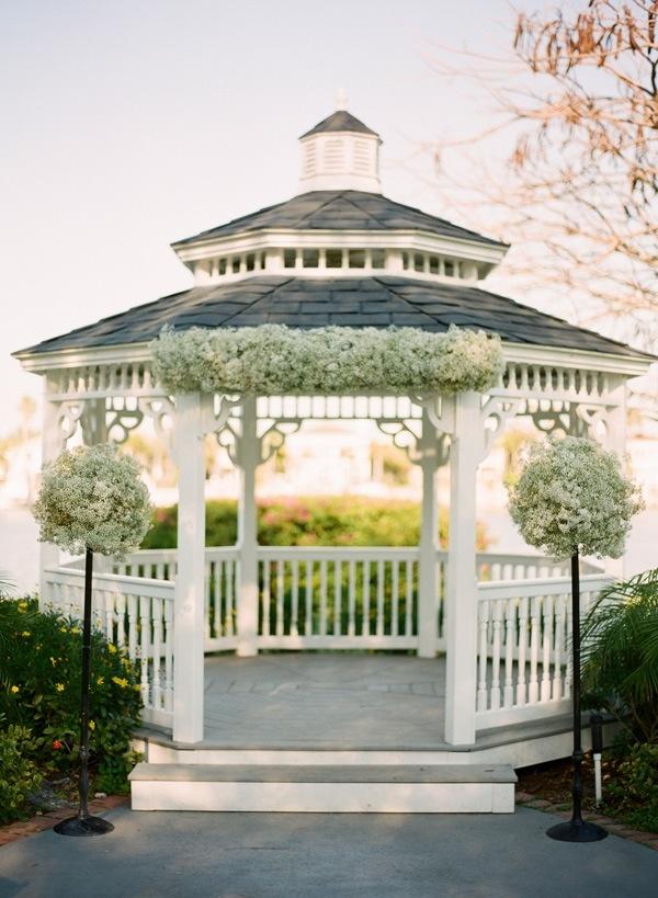 Green and white gazebo wedding ceremony pinterest for Outdoor wedding gazebo decorating ideas