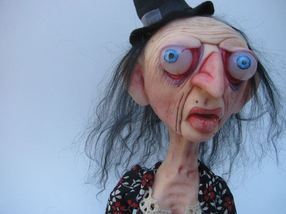 Art doll clay halloween witch one of a kind ooak by mealymonster 175