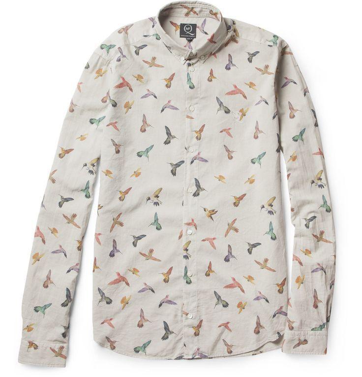 McQ Alexander McQueen Hummingbird-Print Cotton Shirt | MR PORTER