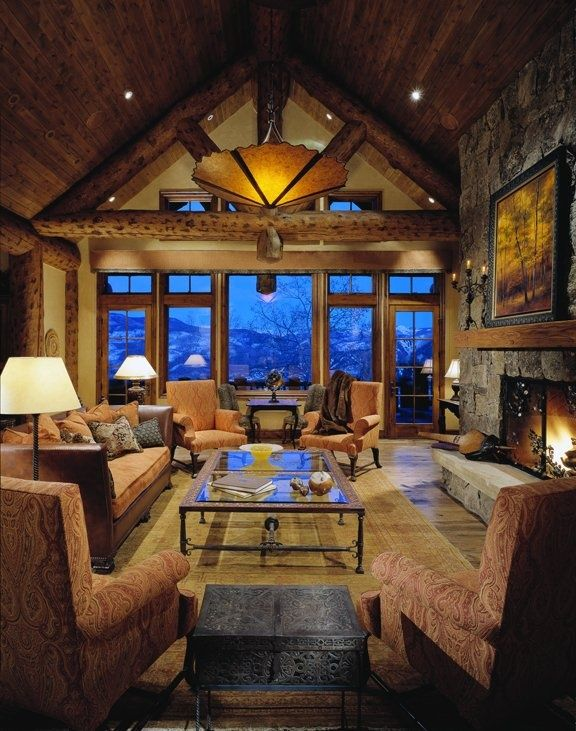Mountains Cabin Living Room Dream Mountain Home Pinterest