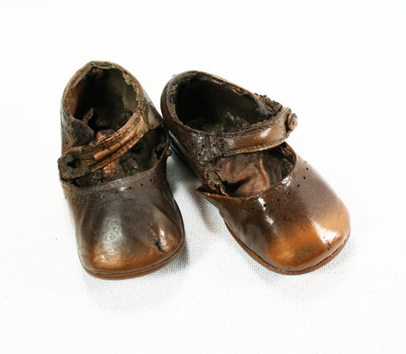 Vintage Primitive Bronze Baby Shoes Etsy by vintagefindsetcetera, $10