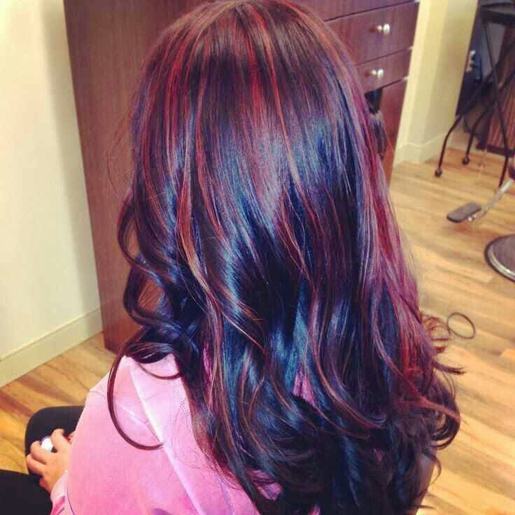 Black hair with cherry highlights | Beauties | Pinterest