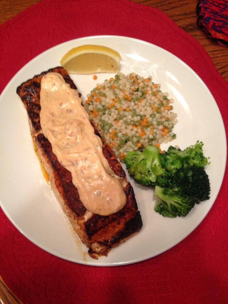 Carla's Kitchen Capers: Blackened Salmon with Chipotle Yogurt Sauce