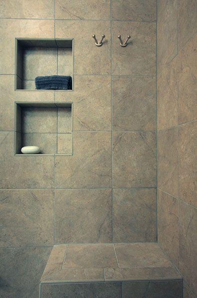 tile shower with recessed shelves bathroom design. Black Bedroom Furniture Sets. Home Design Ideas