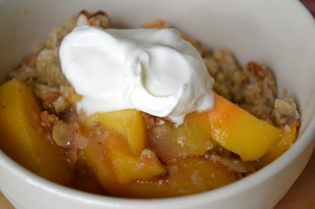 Peach and Almond Crisp (gluten free) | SWEETS for my SWEET | Pinterest