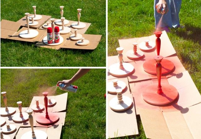 Cake stands made from wooden candlesticks, wooden plaques, gorilla ...