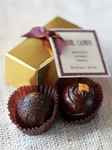 ... purple bow. Truffle flavors vary per box. Orange and Espresso shown in