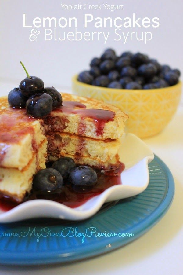 YUM! Try these Lemon Pancakes w/ Blueberry Syrup by @myownblogreview # ...