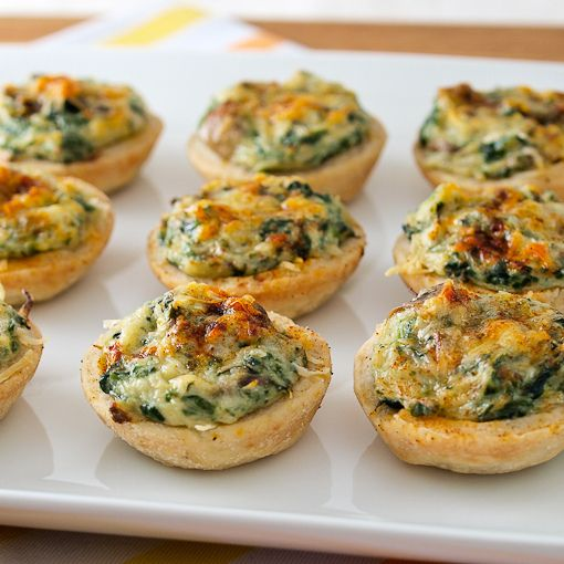 Mini Crab, Spinach, & Mushroom Tarts // filling: 2 T butter 1 1/4 c ...