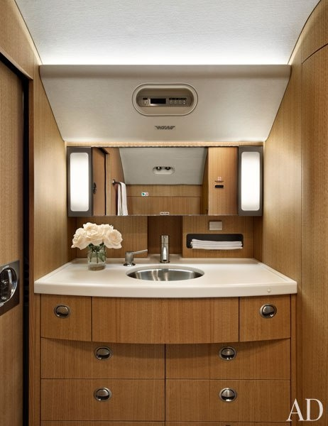Bathroom space on private jet | Luxury Living | Pinterest