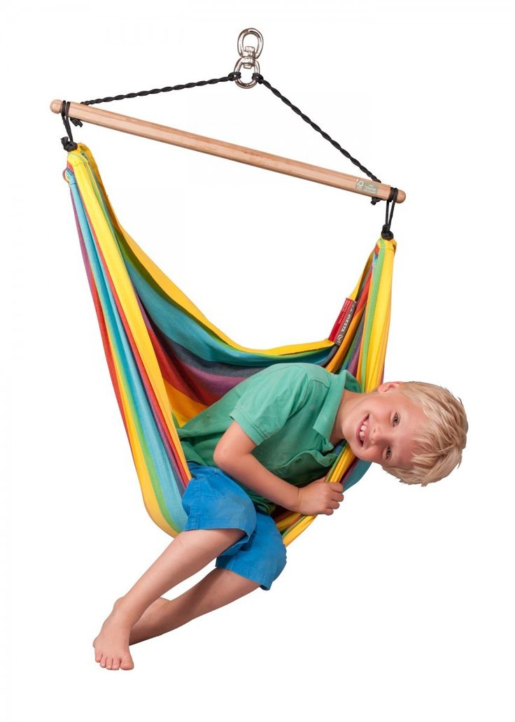 Swinging makes kids smart! Rainbow Hammock Chair Swing can be hung indoors or out. Cotton and bamboo. $69.95