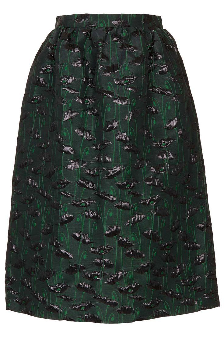 limited edition green poppy midi skirt topshop