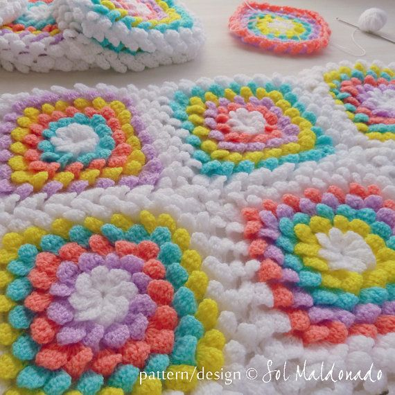 NEW! Baby Blanket Floral crochet pattern - Yummy Flower granny square ...