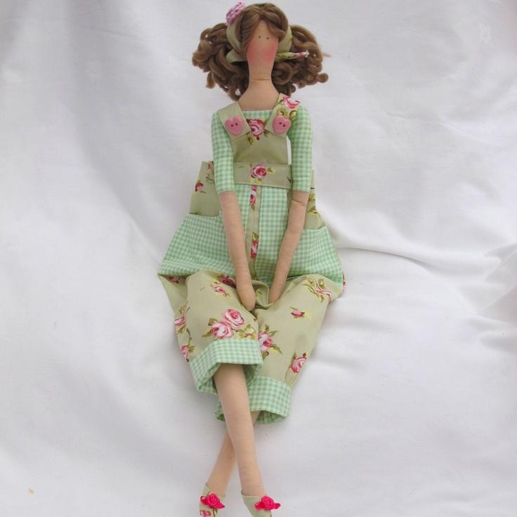 Tilda Doll - Green floral dungarees. £25,00, via Etsy.