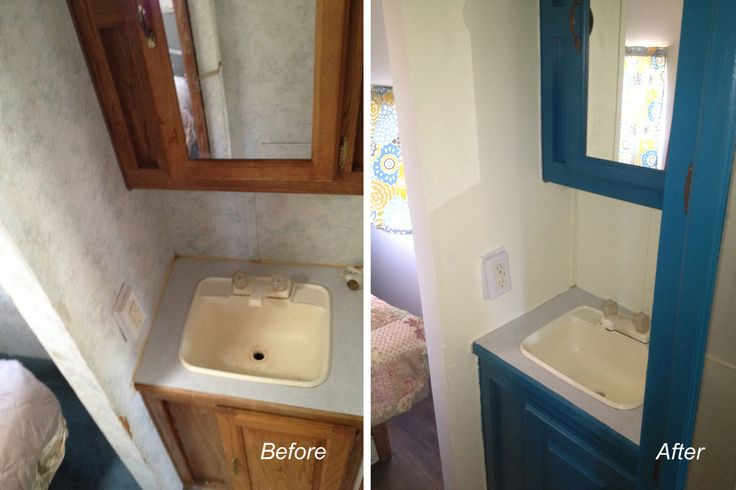 Remodel rv bathroom repaint cabinets rv camping for Travel trailer bathroom ideas