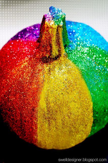 Rainbow Glitter Pumpkin
