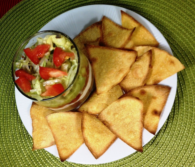 Layered Bean Dip with Corn Chips (single serving)