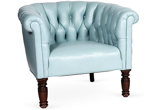 Light blue leather chair on onekingslane com