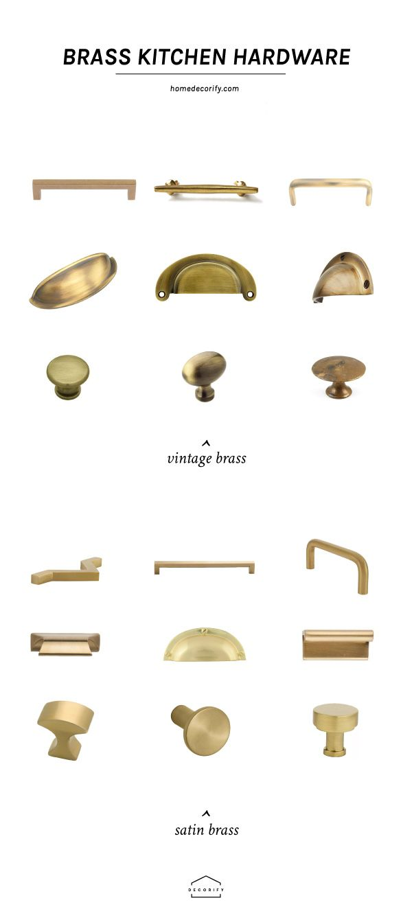Brass hardware kitchen