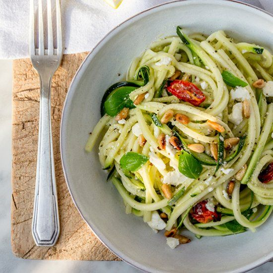 Courgette noodle salad with feta, basil and lemon. Perfect for BBQs ...