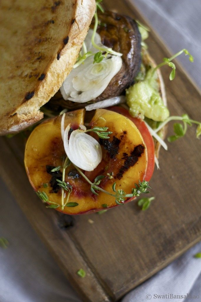 "Grilled Portobello and Peach ""Sandwich""....make paleo bread"