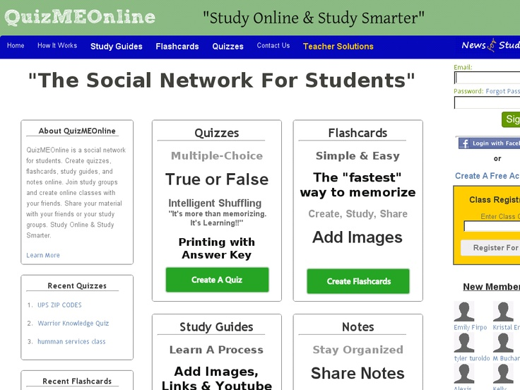 QuizMEOnline is a social network for students, which allows them to create study guides, notes, and also to join study groups online.